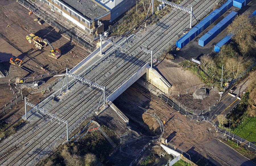 Aerial photo of railway bridge.