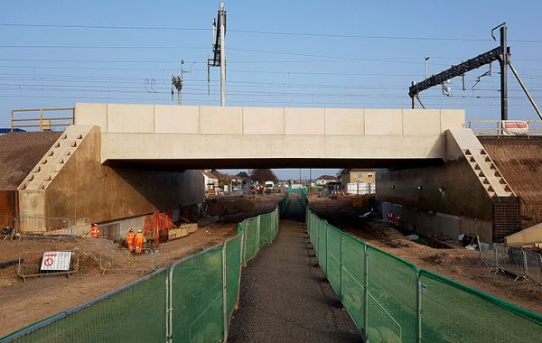 Photo showing pedestrian route under the bridge.
