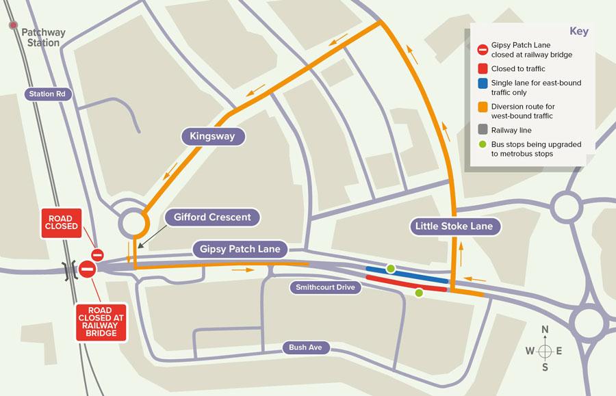Map showing diversion routes.