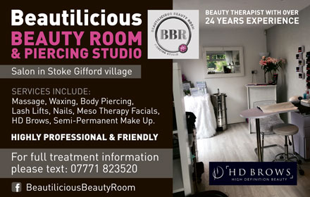 Beautilicious Beauty Room & Piercing Studio, Stoke Gifford, Bristol.