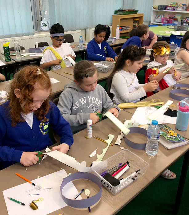 Photo of pupils doing a craft activity.