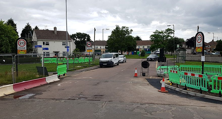 Photo of a road with roadworks in progress.