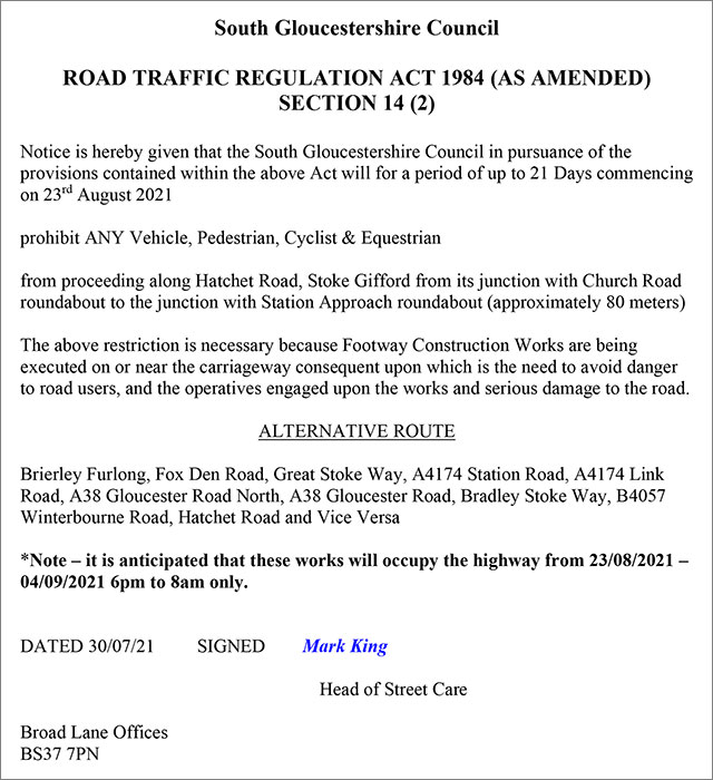 Image showing a road closure notice.