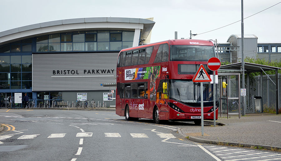 Photo of a bus outside Bristol Parkway railway station.
